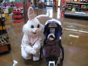 Grace happened across the Easter Bunny at our local grocery store