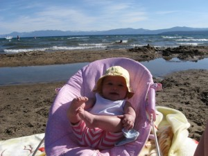 Grace enjoying the beach at Lake Tahoe