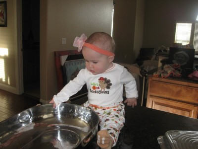 Grace helping in the kitchen .......